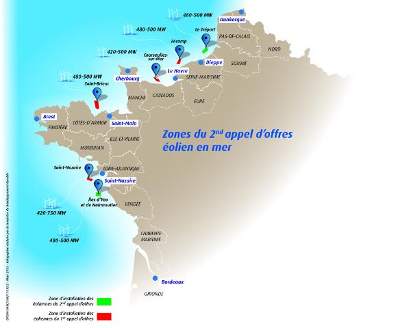 Carte du second appel d'offre français dans l'éolien offshore