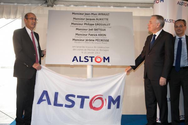 Inauguration du lancement des travaux de l'usine de Montoir de Bretagne St Nazaire de l'Haliade 150 par le 1er Ministre le 17 Janvier 2013