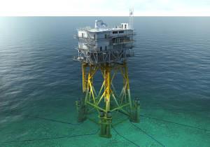 Une fondation en mer de STX